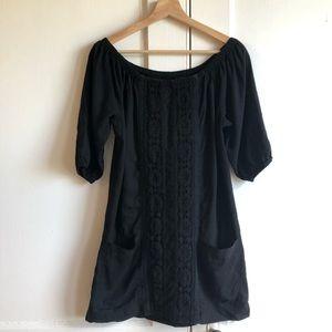 Anthropologie Mermaid Black Linen Peasant Dress